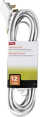 Staples 12' Extension Cord, 3-Outlet, White