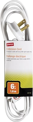 Staples 6' 3-Outlet Low Profile Extension Cord, White (22134)