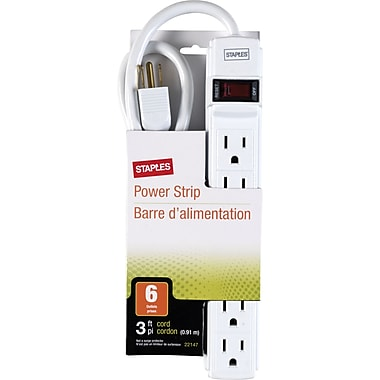 Staples 3' and 6-Outlet Power Strip, White