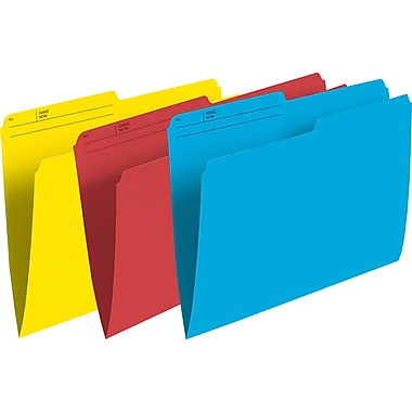 Staples® Coloured File Folders, Letter Size, 8-1/2
