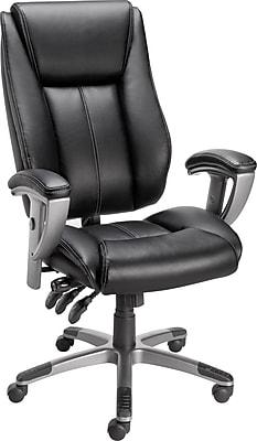Staples Santoro Bonded Leather High-Back Task Chair, Black