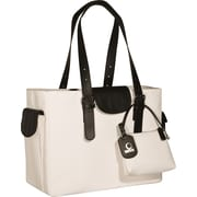WIB Liberator Leather look Trim Laptop Tote Bag, White, 16.1""