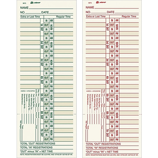 adams double sided time cards model 9675 3 3 8 x 9 staples