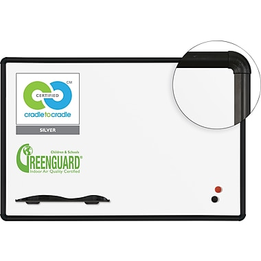 Best-Rite Green-Rite, 4' x 3', Porcelain Dry-Erase Whiteboard with Black Presidential Frame (E2H2PC-T1)