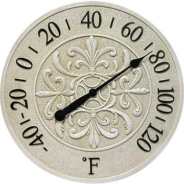 "Infinity Instruments® Blanc Fleur 15"" Round Thermometer, Antique White"