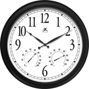 "Infinity Instruments® The Definitive Indoor/Outdoor Wall Clock & Thermometer, 24"", Black"