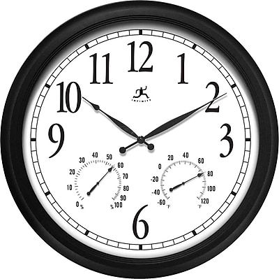 Infinity Instruments® The Definitive Indoor/Outdoor Wall Clock & Thermometer, 24