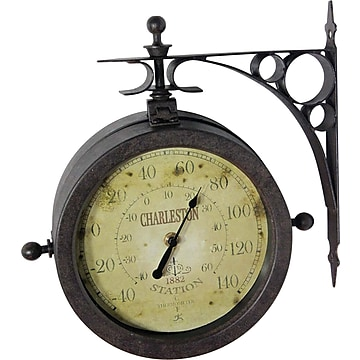 """Infinity Instruments The Charleston 8"""" Indoor/Outdoor Double Sided Antique Clock"""