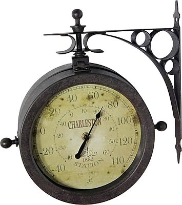 "Infinity Instruments The Charleston 8"" Indoor/Outdoor Double Sided Antique Clock"