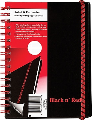 Black n' Red™ Twinwire Business Notebook, Soft Cover, Ruled, 70 Sheets, 5-5/8