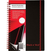 "Black n' Red™ Twinwire Business Notebook, Soft Cover, Ruled, 70 Sheets, 8-1/4"" x 5-7/8"", Black (C67009)"