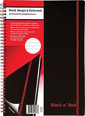Black n' Red™ Twinwire Business Notebook, Soft Cover, Ruled, 70 Sheets, 11-3/4