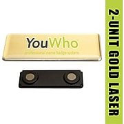 YouWho Name Badge Kit, Gold, Laser, 2-Unit