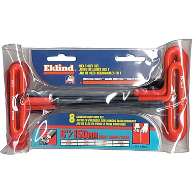 Eklind® Tool 10 Pieces Cushion Grip Hex T-Key Set, Steel, 3/32 - 3/8