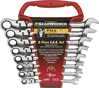 GearWrench® 8 Pieces 12 Point SAE Flexible Combination Ratcheting Wrench Set, 5/16