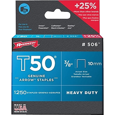 Arrow Fastener T50® Staple, 3/8 in, 0.05