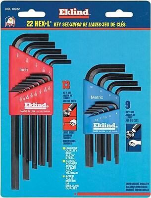 Eklind® Tool Hex-L® 22 Pieces Long Arm Hex Key Set, 0.050 - 3/8