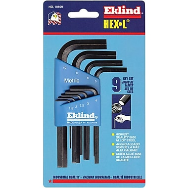 Eklind® Tool Hex-L® 9 Pieces Short Arm Hex Key Set, 1.5 - 10 mm