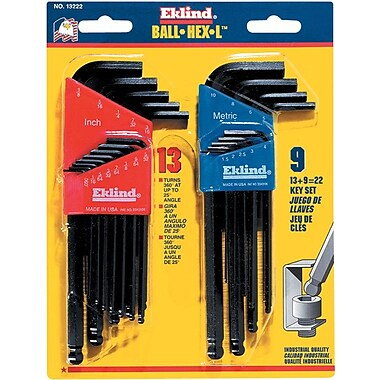 Eklind® Tool Ball-Hex-L™ 22 Pieces Hex Ball Long Arm Hex Key Set, 1.5 - 10 mm, 0.050 - 3/8