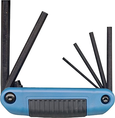 Eklind® Tool Ergo-Fold™ 7 Pieces Small Handle Hex Key Set, Blue Composite Grip, 1.5 - 6 mm