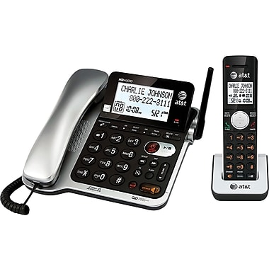 AT&T CL84102 DECT 6.0 Expandable Corded/Cordless Phone with Answering System and Caller ID/Call Waiting, Black, 1 Handset