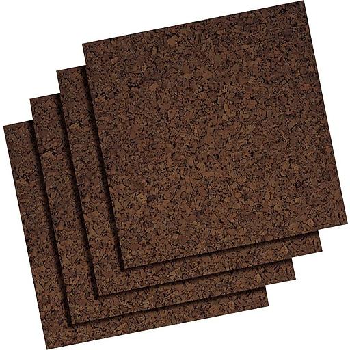 """Staples Frameless Dark Cork Tiles, 12"""" x 12"""", 4/Pk"""