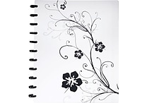 Staples® Arc Customizable Hibiscus Design Notebook System, Black & White, 9-3/8' x 11-1/4'