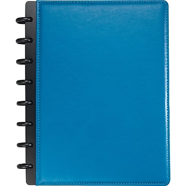 Staples® Arc Customizable Leather Notebook System, Blue, 6-3/4