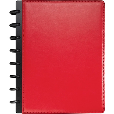 Staples® Arc Customizable Leather Notebook System, Red, 6-3/4