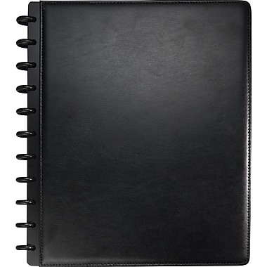 Staples® Arc Customizable Leather Notebook System, Black, 9-1/2