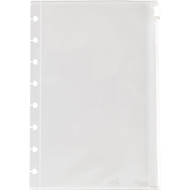 Staples® Arc System Poly Zip Pockets, Clear, 5-1/2