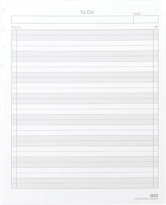 Staples® Arc System To-Do Refill Paper, White, 8-1/2