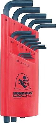 Bondhus® 9 Pieces Long Length Hex Key Set, 1.5 - 10 mm