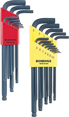 Bondhus® 22 Pieces Ball End Combination Hex Key Set, 0.05-3/8 Inches, 1.5-10 mm