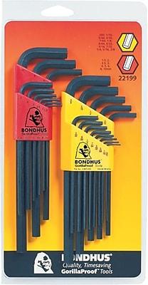 Bondhus 22 Pieces Long Length Combination Hex Key Set, 0.05-3/8 Inches, 1.5-10 mm 698581