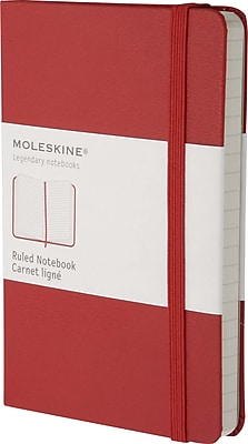 Moleskine Classic Notebook, Pocket, Ruled, Red, Hard Cover, 3-1/2