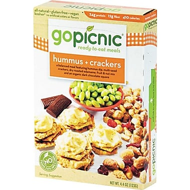 GoPicnic® Ready-To-Eat-Meals, Hummus + Crackers, 4.4 oz. Packs, 6 Packs/Box