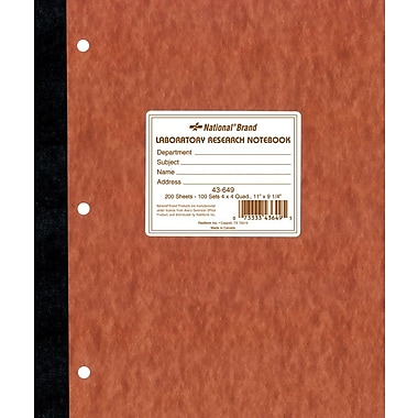 National® Brand Quad Ruled Computation & Lab Notebook, 9-1/4