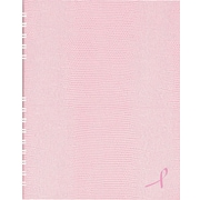 "Blueline NotePro Pink Ribbon Business Notebook, Pink Hard Lizard Look Cover, Twin-Wire binding, 200 Pages / 100 Sheets, 11"" x 8-"
