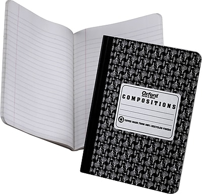 EarthWise® Recycled Composition Notebook, Black, 9-3/4