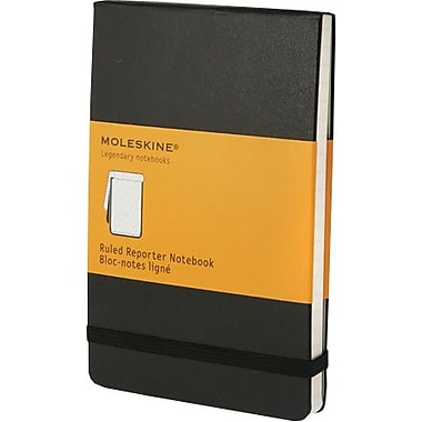 Moleskine Classic Black Pocket Ruled Reporter Notebook, 3-1/2