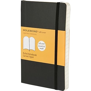 Moleskine Classic Black Soft Cover Pocket Ruled Notebook, 3-1/2