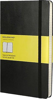Moleskine® Classic Notebook, Large, Square Ruled, Black, Hard Cover, 5