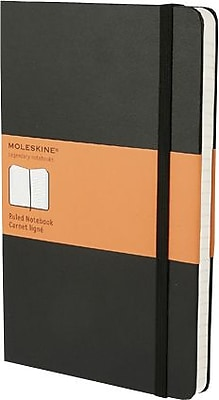Moleskine® Classic Notebook, Large, Ruled, Black, Hard Cover, 5