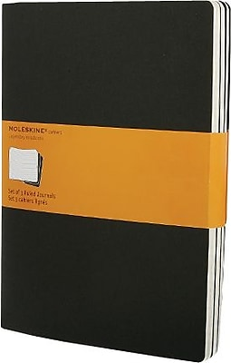 Moleskine Cahier Journal, Set of 3, Extra Large, Plain, Black, Soft Cover, 7-1/2