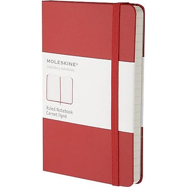Moleskine Classic Red Hard Cover Pocket Ruled Notebook, 3-1/2