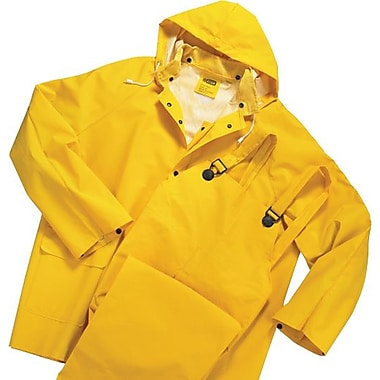 Anchor Brand® 3 Piece Rainsuit, Yellow, PVC/Polyester, 0.3500 mm (T), Detachable Hood, 5X-Large