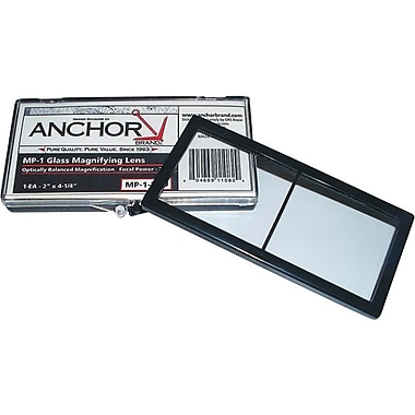 Anchor Brand® Magnifier Lens, 4 1/4 in (L) x 2 in (W), Ground Glass, 1.50 Diopter