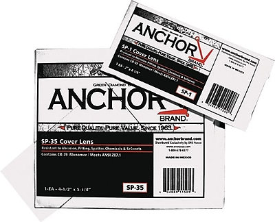 Anchor Brand® Cover Lens, 4 1/4 in (L) x 2 in (W), 70% CR-39 Plastic