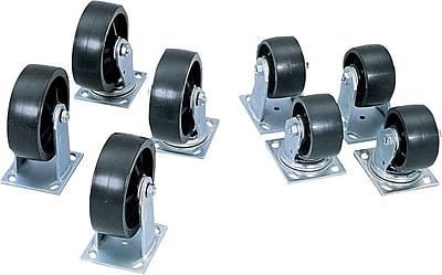 Jobox® 2 Fixed 2 Swivel Heavy Duty Caster, 4 in Diameter